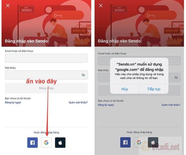 Đăng nhập Sendo bằng google