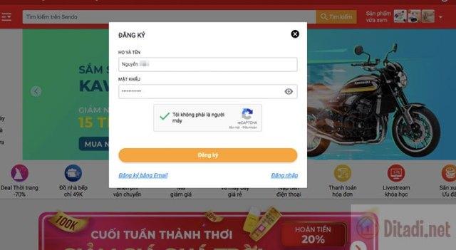 Điền thông tin đăng ký đăng ký tài khoản Sendo