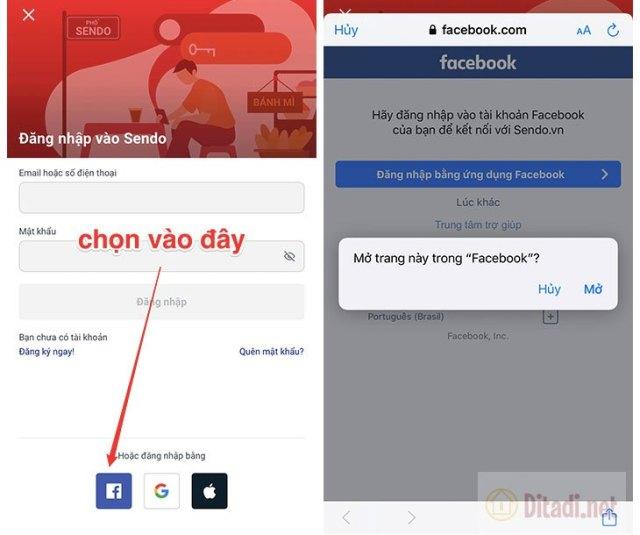 đăng nhập sendo bằng facebook