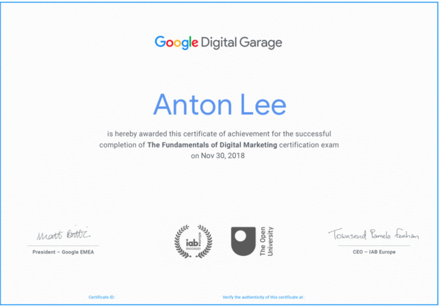 Chứng chỉ từ Google Digital Garage