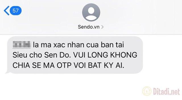 Mã xác nhận Sendo được gửi về số điện thoại của bạn