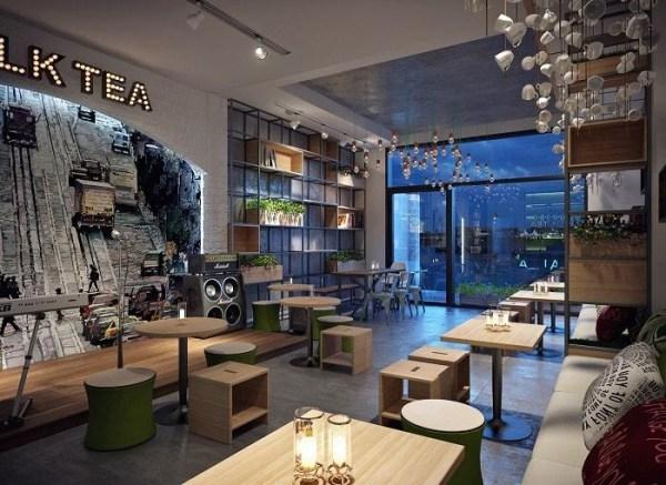 Mẫu thiết kế quán trà sữa giá rẻ - hiện đại