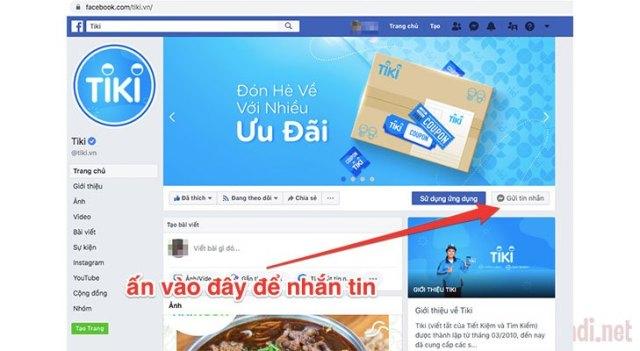 Nhắn tin trực tiếp qua Fanpage Facebook Tiki