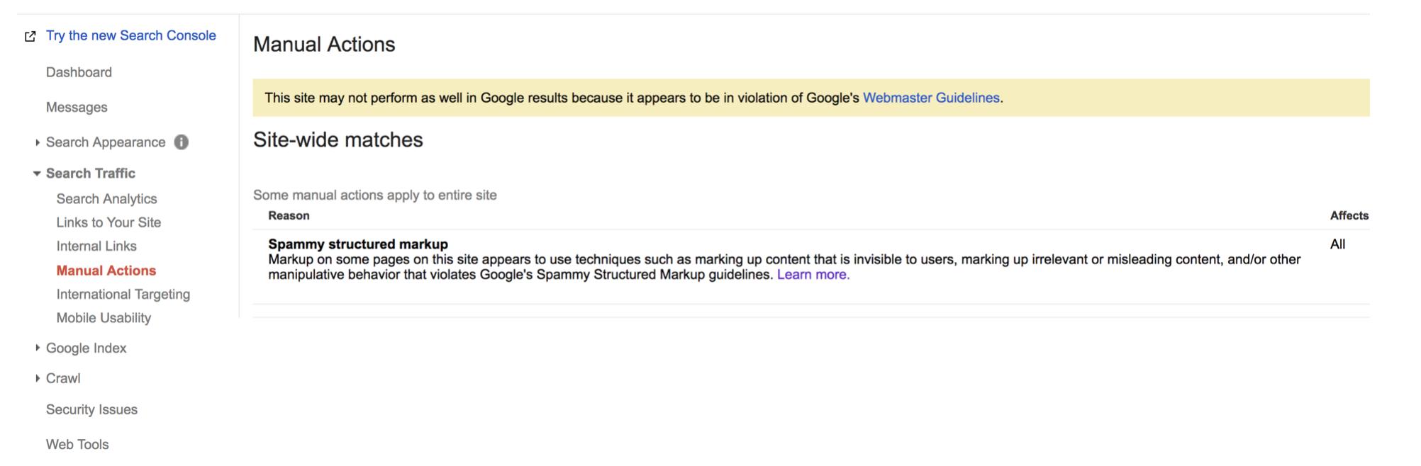 Web này đang bị phạt vì spam dữ liệu có cấu trúc