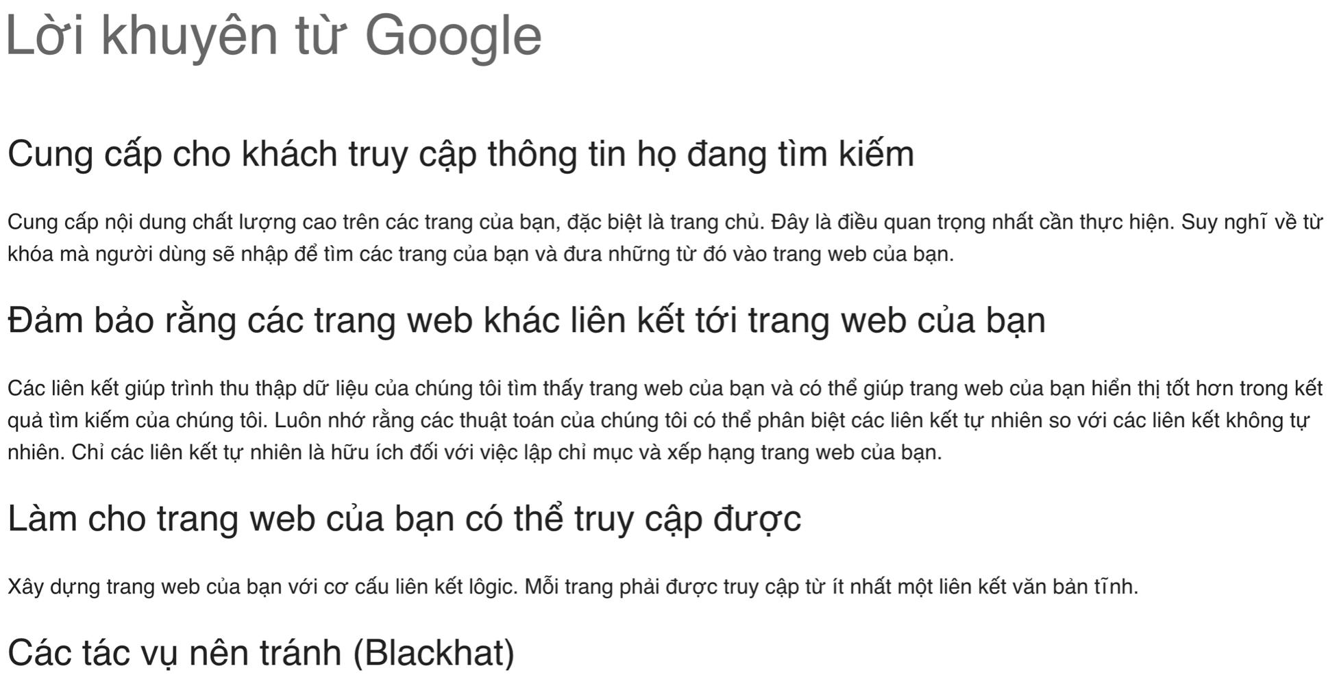Thế nào là một website Google mong muốn bạn làm