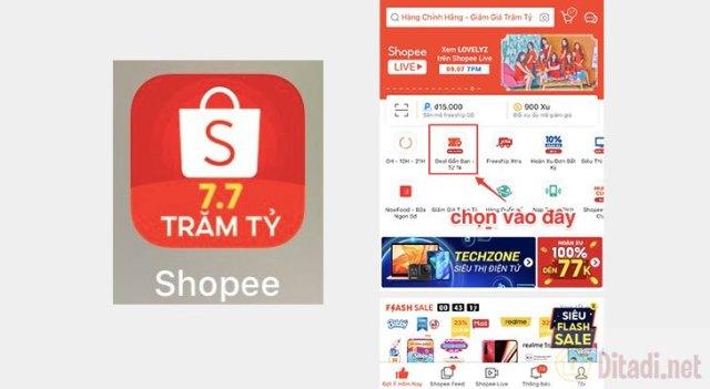 Vào ứng dụng Shopee trên điện thoại chọnDeal Gần Bạn - Từ 1K.jpg