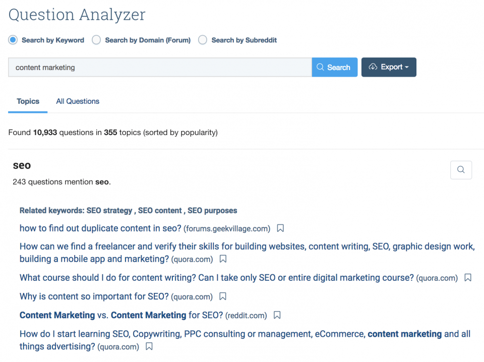 BuzzSumo's Question Analyzer