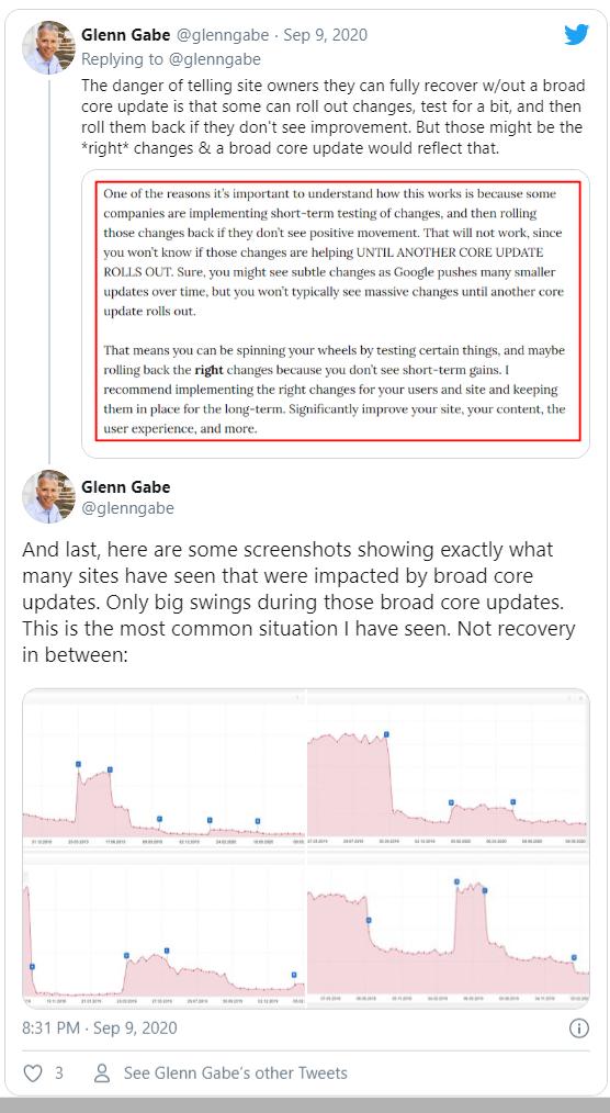 Glenn Gabe cho rằng việc nói hồi phục trước broad core update khả thi là không tốt