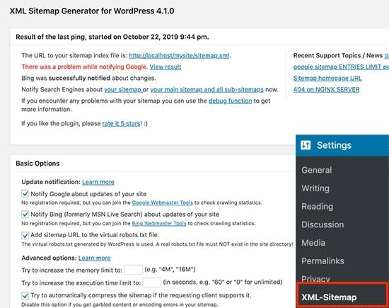 Google XML Sitemap plugin settings
