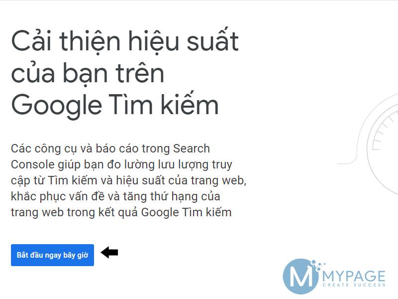 Giao diện Google Search Console lần đầu truy cập