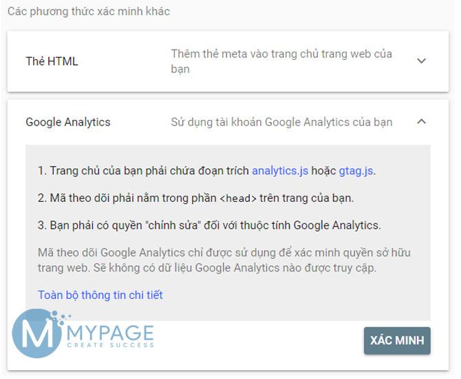 Sử dụng google analytics xác minh quyền sở hữu web