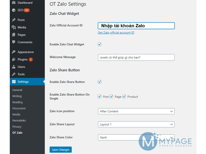 Sử dụng plugin OT zalo chat