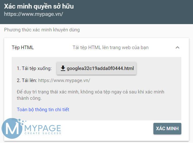 Tải lên tệp HTML xác nhận quyền sở hữu trang web từ google search console