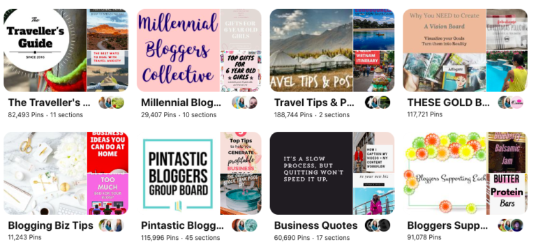 Screenshot of Pinterest group board examples