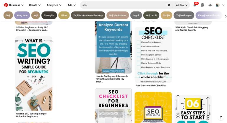 """Kết quả tìm kiếm Pinterest cho """"SEO"""" với các ghim được tối ưu"""