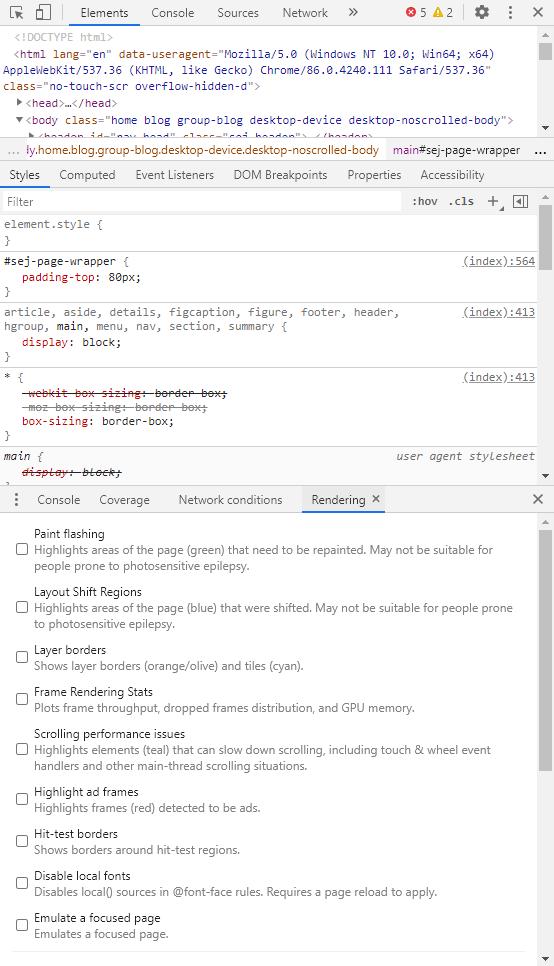 Bảng điều khiển DevTools
