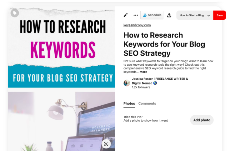 """Screenshot of """"How to do Keyword Research"""" Pin"""