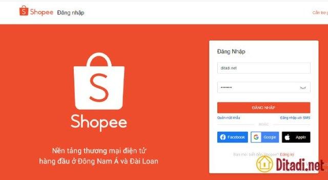 đăng nhập tài khoản xem thống kê mua hàng trên shopee
