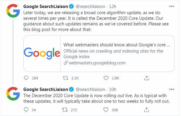 Thông báo chính thức từ Google về thuật toán tháng 12/2020