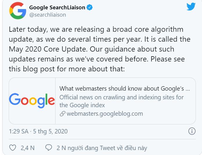 Google broad core update 5/2020