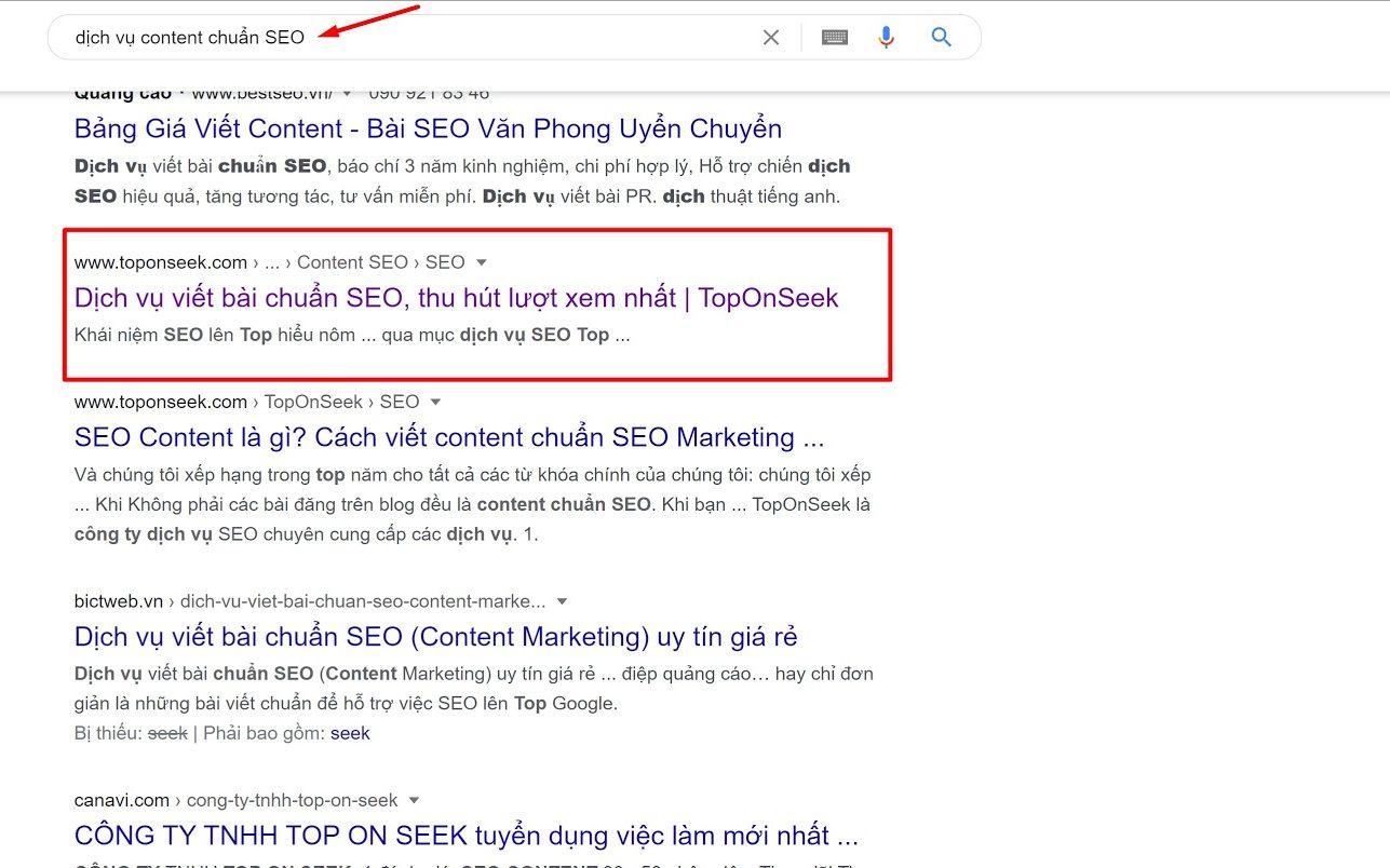 Dịch vụ SEO content truy vấn tìm kiếm thông tin