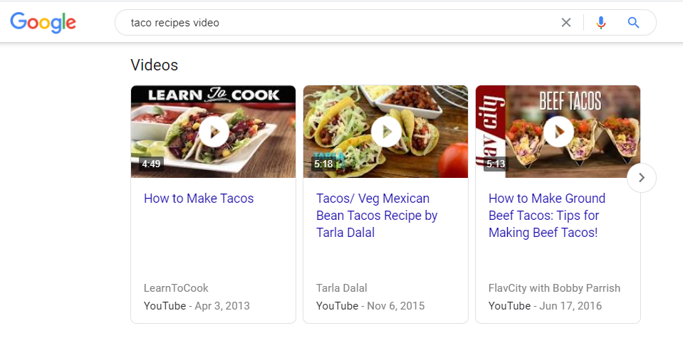 Video carousel Google