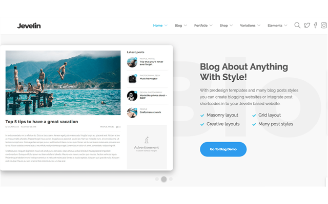 Theme WordPress: Jevelin