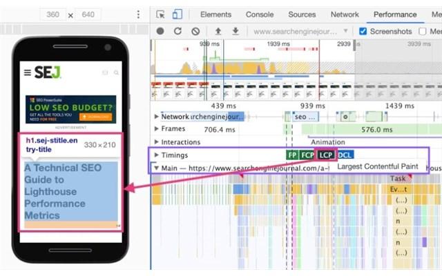 Xác định LCP bằng Chrome Devtools
