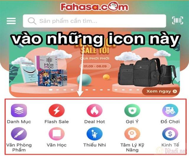 Lựa chọn icon của Fahasa