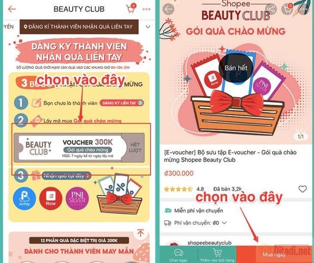 Mua gói quà chào mừng Beauty Club Shopee