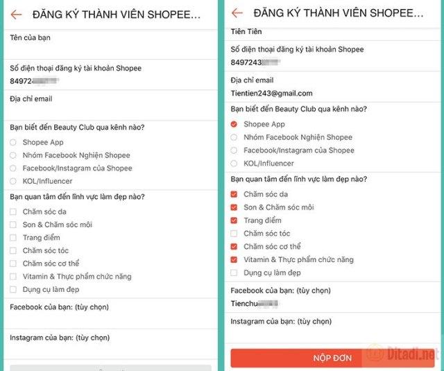 Nhập thông tin form đăng ký thành viên shopee beauty club