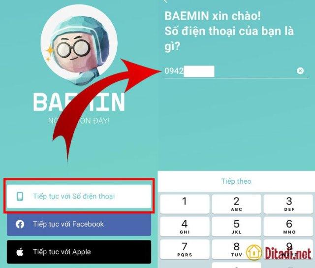 nhập số điện thoại tạo tài khoản baemin