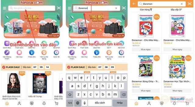 Tìm kiếm sản phẩm ở thanh công cụ trên App Fahasa