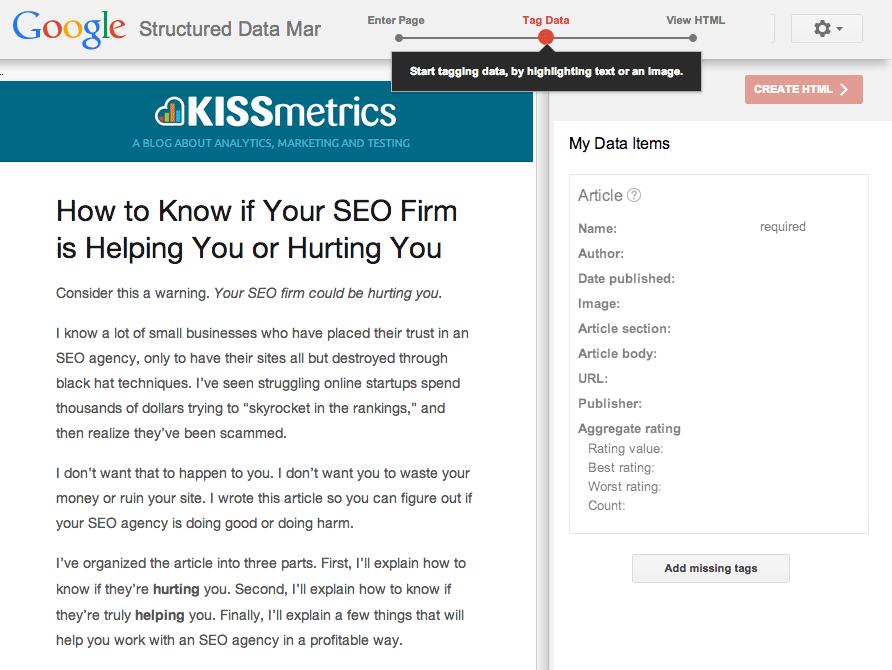 Trang web bên trái và các data items bên phải