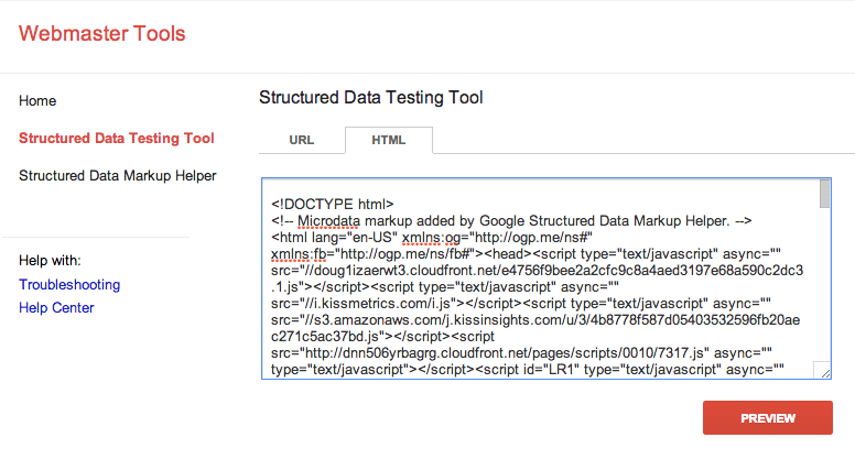 Sử dụng Structured Data Testing Tool