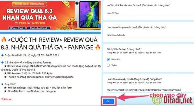 Bạn gửi thông tin bài review về cho ban tổ chức shopee check