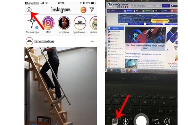 Truy cập vào ứng dụng instagram
